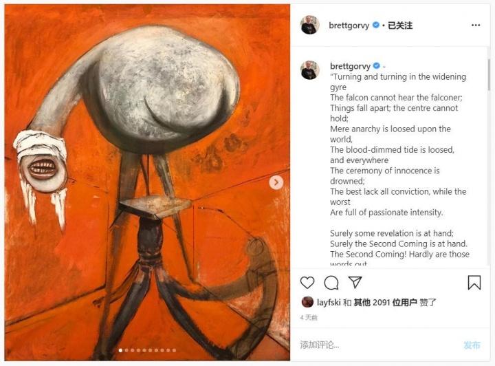 布赖特·格文的Instagram截图,他在Instagram上拥有的才能在艺术界广为人知,长期使用这一平台展示他对艺术和诗歌的热爱