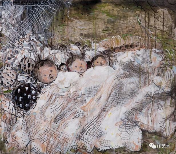 李继开《沉睡的人》 70×80cm 布面丙烯 2018