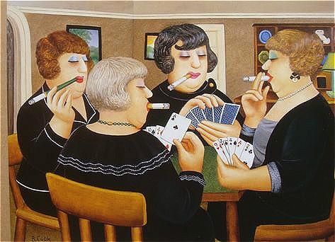 贝里尔·库克(Beryl Cook 1926-2008) 《桥牌聚会》 布面油画 1997 ©John Cook 2017