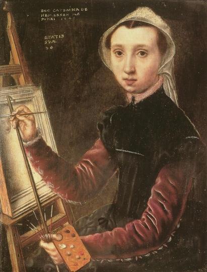 卡特里娜·凡·霍姆森(1528-after1587)《自画像》 33×26.5cm 布面油画 1548 俄罗斯埃尔米塔日博物馆馆藏