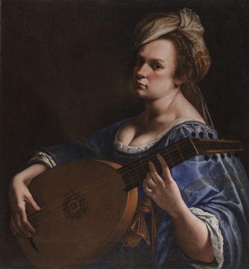 阿尔泰米西娅·真蒂莱斯基(Artemisia Gentileschi 1593-约1656) 《作为鲁特琴演奏者的自画像》 78×72cm 布面油画 约1615-1618 沃兹沃思艺术博物馆馆藏 摄影:Allen Phillips