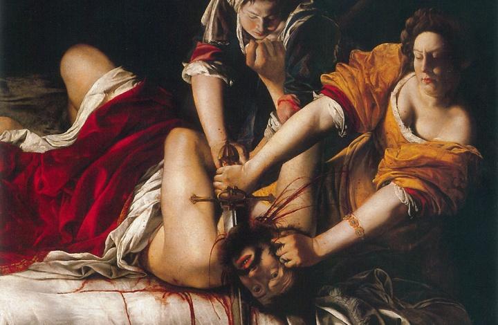 阿尔泰米西娅·真蒂莱斯基《朱迪思斩首霍洛弗涅斯》 199×163cm 布面油画 1612 乌菲兹美术馆馆藏