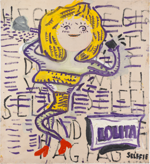 罗斯·怀利(Rose Wylie b.1934 )《Lolita and selffie》 182×166cm 布面油画 2018 David Zwirner画廊 © Rose Wylie