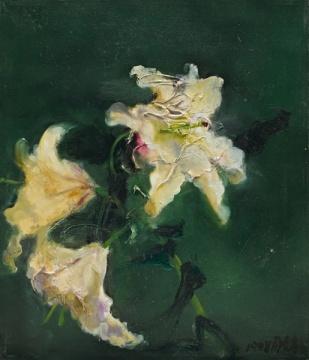 周春芽 《白百合》52.7×45cm 布面油画 1998 229次出价 成交价:¥1,224,300
