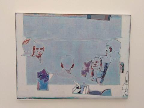 《一块蓝色方形里有五个人》 150×200cm 布面油画 2020