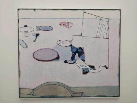 唐永祥 《四个盘子和一只蜥蜴》 130×150cm 布面油画 2020