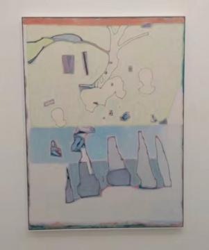 唐永祥 《一棵树 几个人 下面有灰色块》 200×150cm 布面油画 2020