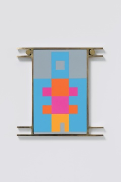 《Hanging Rooms-L》57.5×55.5×3cm 布面油画、黄铜外框、黄铜、不锈钢支架 2020