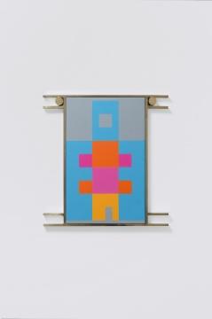 《Hanging Rooms-XL》34×33×2cm 板面油画、黄铜外框、黄铜、不锈钢支架 2020