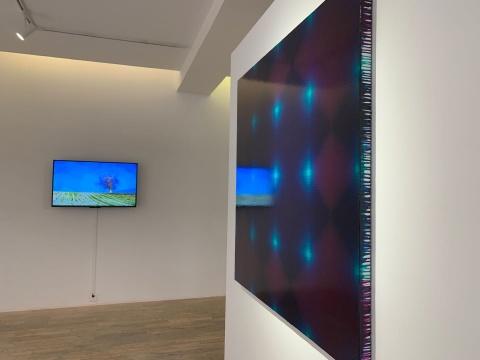 王一《单元2020-5》120×120cm 布面丙烯 2020(右)  董大为《孤独的树之四季》视频 2011-2014(左)