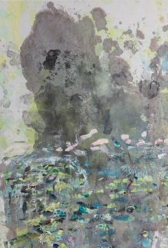《荷塘》 70x140cm 纸本丙烯水墨 2009