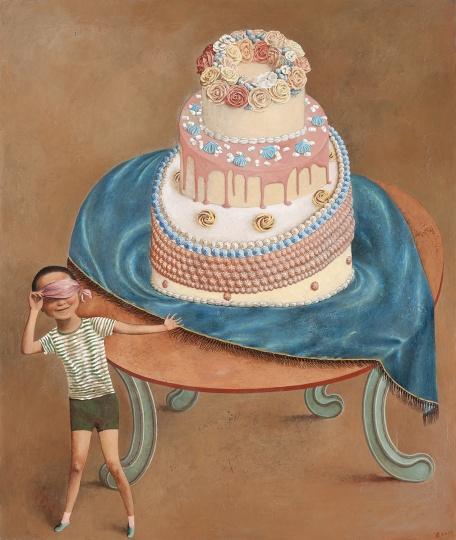 颜秉卿 《大蛋糕》 129×109cm木板坦培拉2019