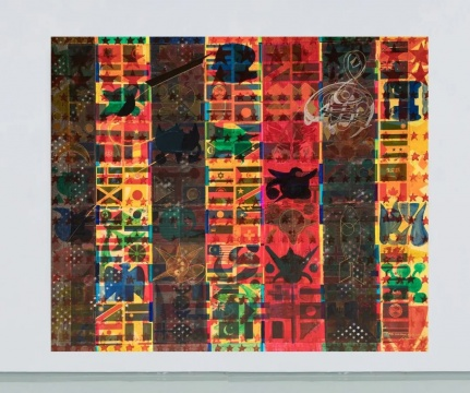 蒲英玮 《时间,历史,我们:动荡之后,红色模式将在世界范围内流行》200x170cm 布面油画、丙烯、喷漆、油漆笔、蜡笔、纸质拼贴 2020