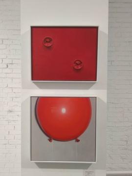 郭警 《红气球之二》 40×50cm 布面油画 2019 (上) 郭警 《红气球》50×50cm 布面油画 2019 (下)