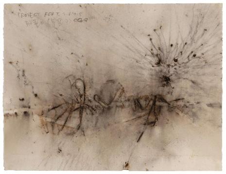 蔡国强《胎动(草图9)》50×65cm 火药、纸 1990