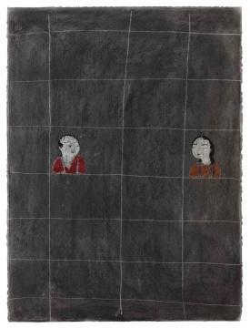 王玉平《男-女》76×56cm 纸本木炭 2018