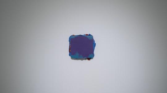 马树青 《无题20—13 》25×28cm 丙烯木板、综合媒介 2019-2020 现场图