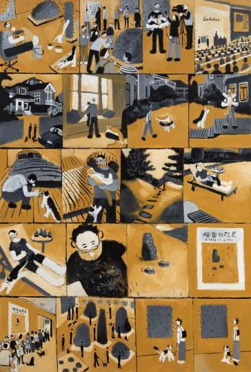 《猫咪和它们的艺术家》170×115cm×2 布面丙烯2019