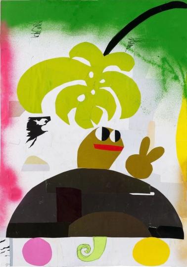 《龟和龟背竹之三》 79×55cm 纸上拼贴 2019