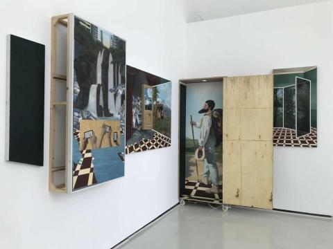 韩皓宇 《重屏.临其景》 230×600cm 布面油画、现成品、高清录像 2018