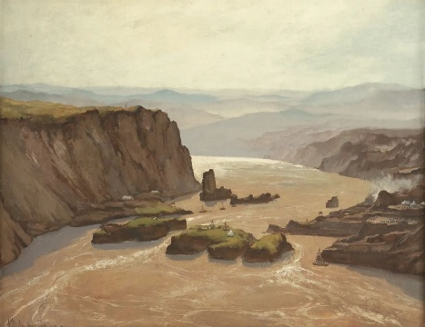 吴作人 《黄河三门峡·中流砥柱》 布面油画 1955-1956 中国美术馆藏