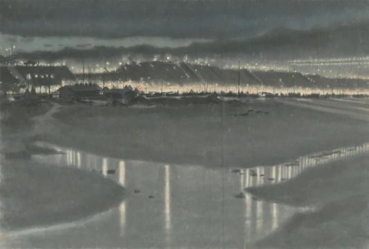 李斛 《十三陵水库工地夜景》 纸本水墨 1958