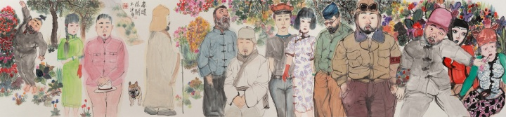 《春暖花开》53×230cm纸本设色2020