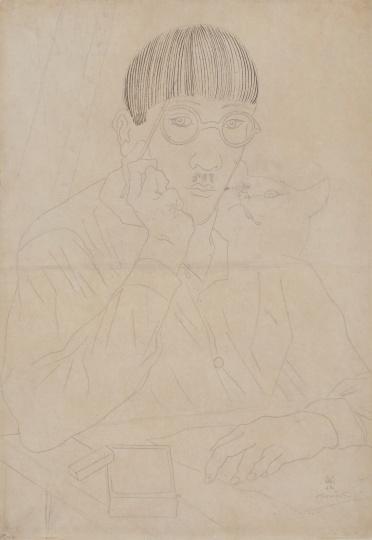 藤田嗣治 《自画像》 47.9×33.4cm钢笔、铅笔纸本素描1927-1931铅笔签名于右下角来源:亚洲私人收藏、比利时私人收藏华艺国际2020北京首拍