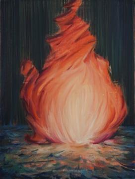 《雨夜不灭的火焰》 80×60cm 布面油画 2019