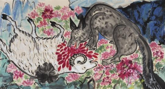 《鲜花盛开》96×177cm 纸本设色 2019