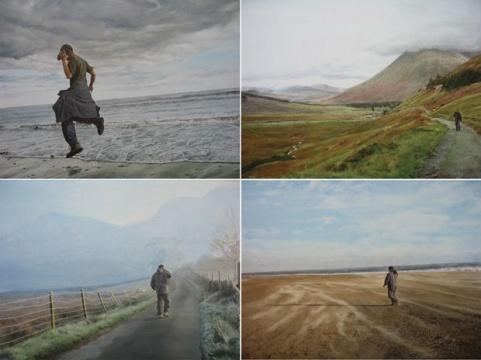何云昌 《石头英国漫游记》 2006-2007 图片致谢:艺术家和前波画廊 2006年9月23日,何云昌从英国北部的诺森伯兰出发,走到附近的一个叫布姆(Boulmer)的小镇,并在那里选了一块石头,他手举着石头逆时针方向行走,直到2007年6月14日走回到出发点。112天的时间,一个人,一块石头,3500公里。