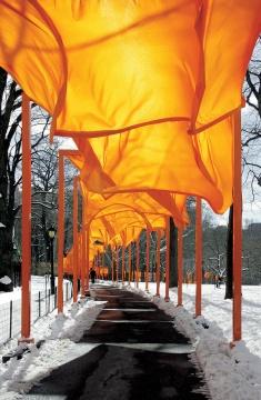 《门》 美国纽约中央公园1979-2005摄影:Wolfgang Volz©2005Christo  7500扇由聚乙烯制成的门穿越中央公园,绵延37公里,像一条金色的河流。