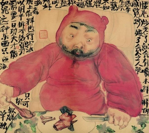 李津 《饱食图》45×54cm 纸本设色 2009 图片来源:玉兰堂
