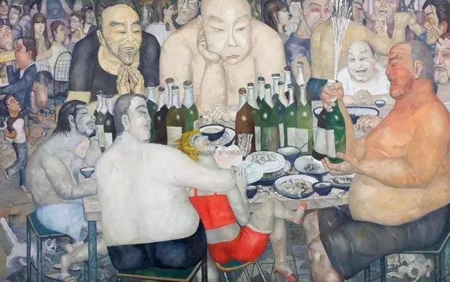 王焕青 《兄弟们》100×160cm 布面油画 2006 图片来源:蜂巢当代艺术中心