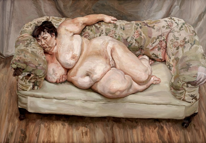 弗洛伊德(Lucian Freud) 《沉睡的救济金管理员》 151×218cm 布面油画 1995  © The Lucian Freud Archive / Bridgeman Images