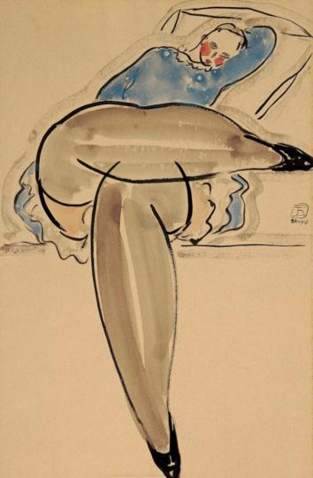 常玉 《憩》48cmx32cm纸本水彩1920年代