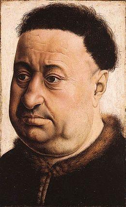罗伯特·坎平(Robert Campin)《胖男子肖像》35.4×23.7cm 板上油画 约1425 西班牙提森-博内米萨博物馆馆藏
