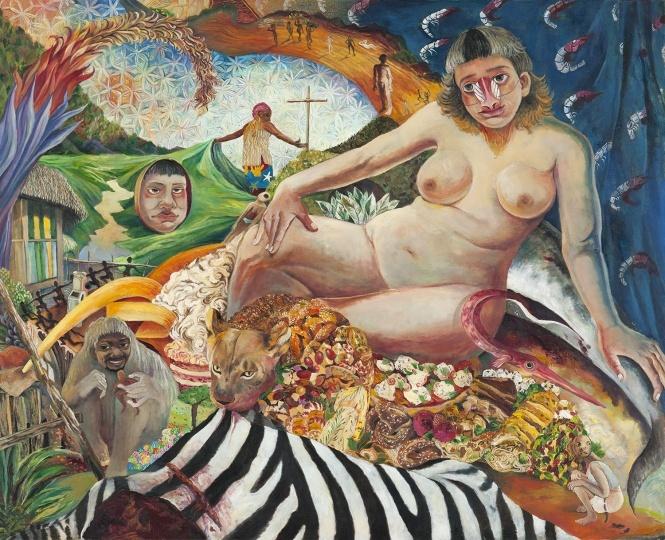 刘冰 《一个女人》130×160cm布面油画 2016 图片来源:玉兰堂