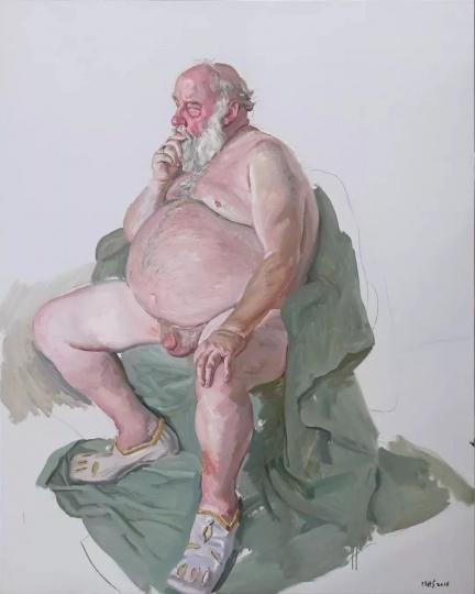 陈丹青 《扮演亨利八世的老人》152.5×122cm 布面油画 2018 图片来源:当代唐人艺术中心