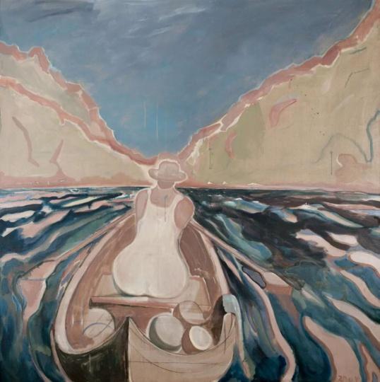 赵洋 《罗马是个湖180806》 210×210cm 布面油彩&丙烯2018 图片来源:香格纳画廊
