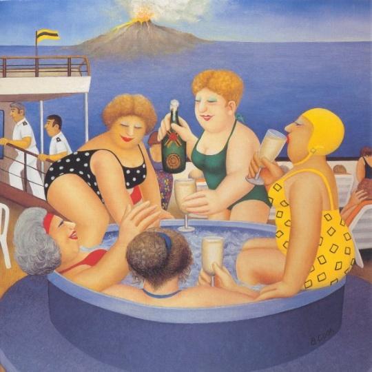 贝里尔·库克(beryl cook) 《游船度假》 48×48cm 图片来源:艺术家官网