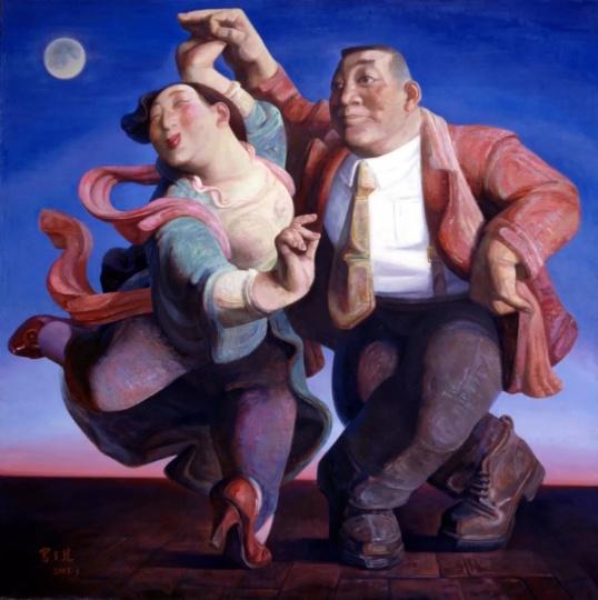 宫立龙 《千里共婵娟》 180×180cm 布面油画 2003 图片来源:站台中国当代艺术机构