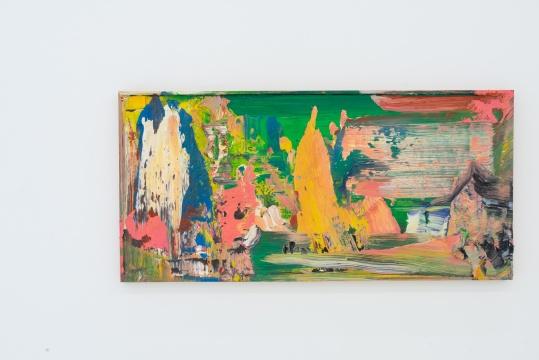 尹朝阳《绿色江景》 57×120cm 木板油画 2020