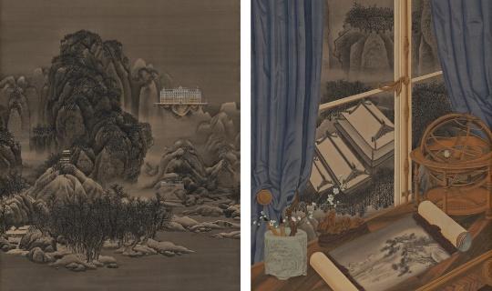 王赫 《窗中景——雪景寒林》 75×91cm×2水墨绢本设色 2020