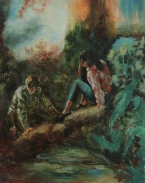 克里斯托弗·奥尔《植物与影子》木板油画 25.5×20.5cm 2020
