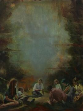 克里斯托弗·奥尔《与真实的自我形同陌路》木板油画 40×30cm 2019