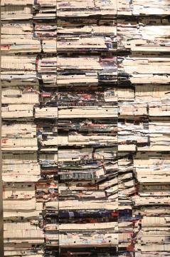 李枪 《图书馆计划1号》 83×310cm 杂志、书 2016