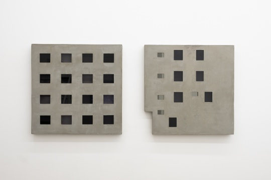 黎炳声 《威士新城-收藏1# 》 《威士新城-收藏2#》 80×80cm 水泥、玻璃、木板、综合材料 2018