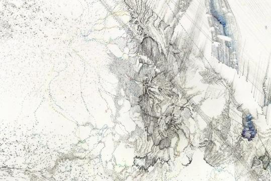 熊辉 & 韦邦雨 《Same Line Twice 18(Detail)》70 x 138 cm 纸本颜料、墨、圆珠笔2019图片来源:艺术家