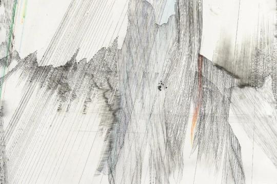 熊辉 & 韦邦雨 《Same Line Twice 16(Detail)》90 x 90 cm 纸本颜料、墨、圆珠笔 2019图片来源:艺术家